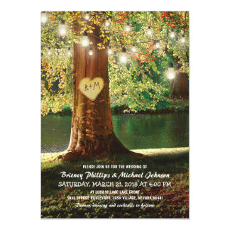 Rustic Mountain Lake Twinkle Lights Wedding Invitation