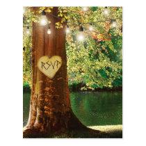 Rustic Mountain Lake Twinkle Lights Wedding RSVP Postcard