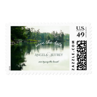 Rustic mountain lake wedding save the date postage