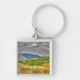 Rustic Mountain Scene; Customizable Silver-Colored Square Keychain