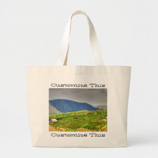 Rustic Mountain Scene; Customizable Large Tote Bag