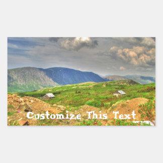Rustic Mountain Scene; Customizable Rectangular Sticker