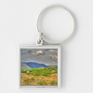 Rustic Mountain Scene Silver-Colored Square Keychain