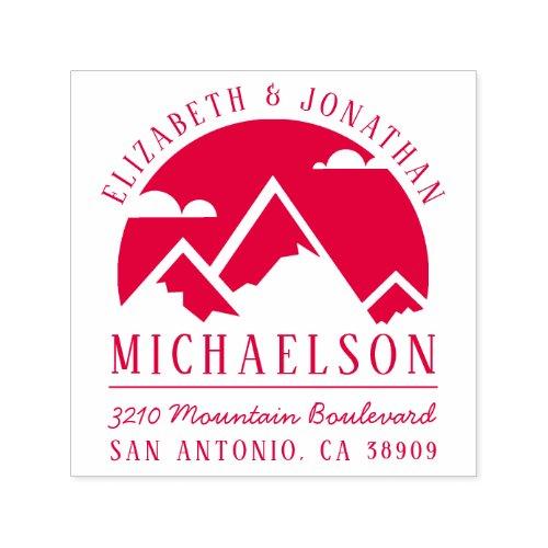 Rustic Mountain Silhouette Wedding Return Address Self_inking Stamp