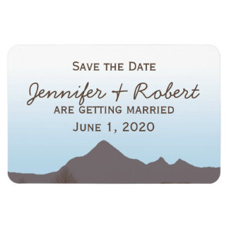 Rustic Mountain Watercolor Save the Date Rectangular Photo Magnet