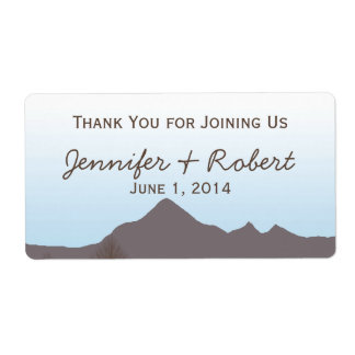 Rustic Mountain Watercolor Water Bottle Label Shipping Label
