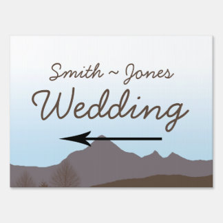 Rustic Mountain Watercolor Wedding Direction Sign