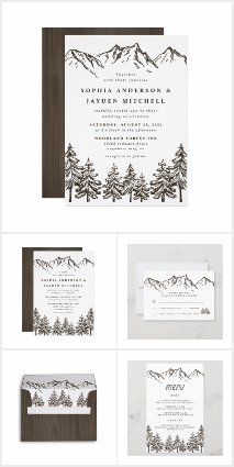 Rustic Mountain Watercolor Wedding Invitations Set