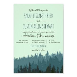 Rustic Mountain wedding invitation in blue green