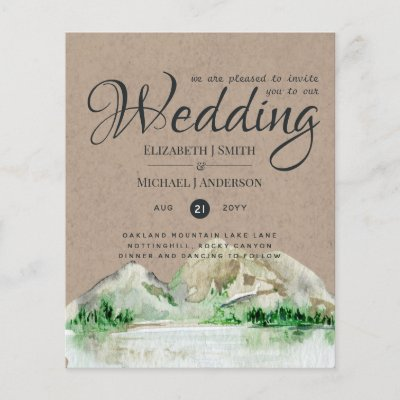 Rustic Mountain Wedding Lake Forest Wedding Invite