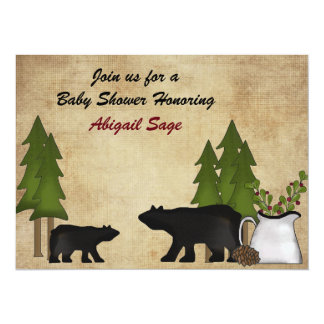 Rustic Mountain Woodland Bears Baby Shower Invite