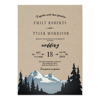 Rustic Mountain Woodland Forest Wedding Card