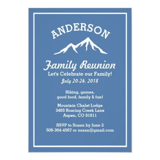 Rustic Mountains Family Reunion Trip Get Together Invitation