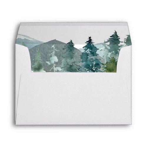 Rustic mountains forest envelopes for 5x7 card