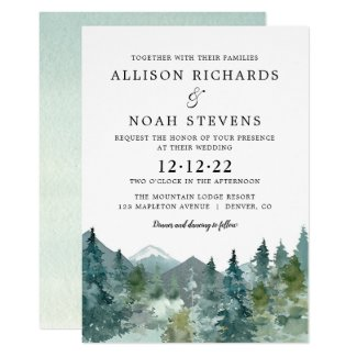 Rustic mountains forest watercolor wedding invitation