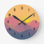 Rustic Mountains Geometric Minimalist Round Clock