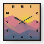 Rustic Mountains Geometric Minimalist Square Wall Clock