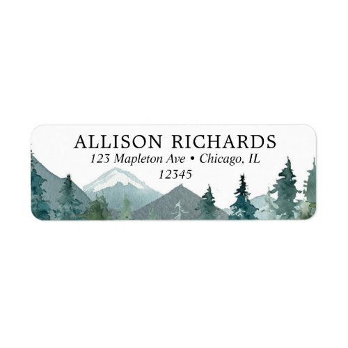 Rustic mountains outdoor theme wedding label