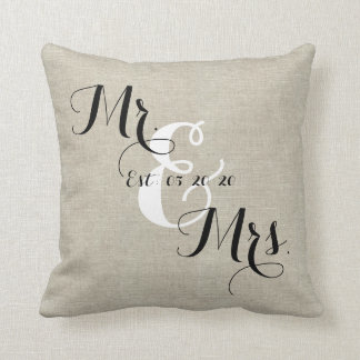 Rustic Mr and Mrs Linen Custom Wedding Pillow