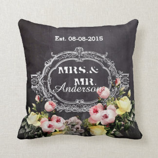 rustic mr. mrs  vintage flowers Chalkboard wedding Throw Pillow