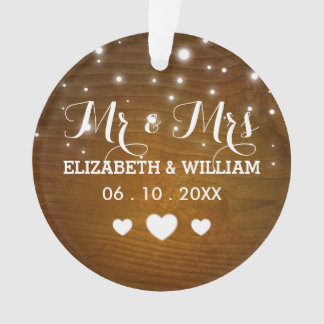Rustic Mr & Mrs Wedding Hearts Christmas Ornament