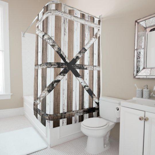 Rustic Multi Wood White Brown Barn Door Shower Curtain