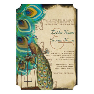 Rustic Musical Peacock Birdcage Feather Wedding 5x7 Paper Invitation Card