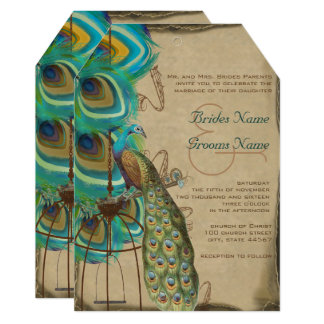 Rustic Musical Peacock Birdcage Feather Wedding Card