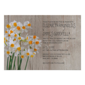 Rustic Narcissus Wedding Invitations Personalized Announcements