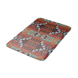 Rustic Native American Indian Cabin Mosaic Pattern Bath Mat