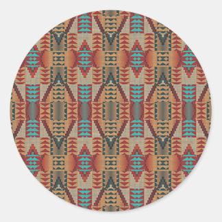 Rustic Native American Indian Cabin Mosaic Pattern Classic Round Sticker