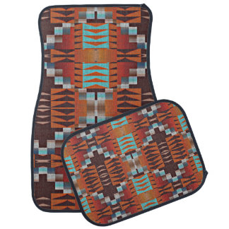 Rustic Native American Indian Cabin Mosaic Pattern Floor Mat