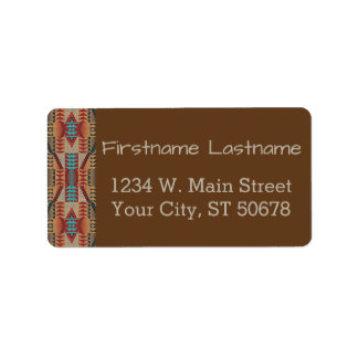 Rustic Native American Indian Cabin Mosaic Pattern Label