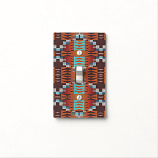Rustic Native American Indian Cabin Mosaic Pattern Light Switch Cover