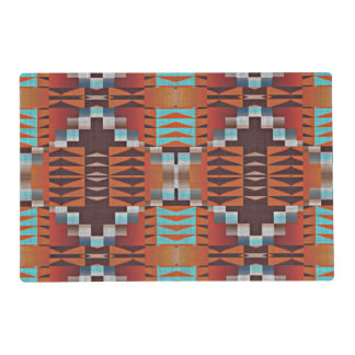 Rustic Native American Indian Cabin Mosaic Pattern Placemat