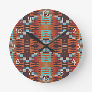Rustic Native American Indian Cabin Mosaic Pattern Round Clock