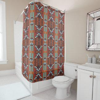 Rustic Native American Indian Cabin Mosaic Pattern Shower Curtain