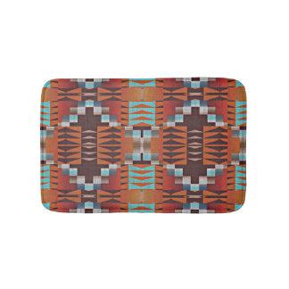 Rustic Native American Indian Cabin Mosaic Pattern Bath Mats