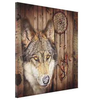 rustic native indian dream catcher wild wolf canvas print