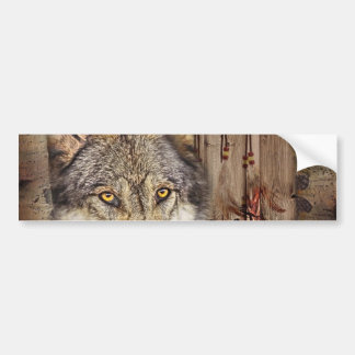 rustic native indian dream catcher wild wolf car bumper sticker