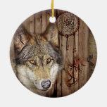 rustic native indian dream catcher wild wolf ceramic ornament