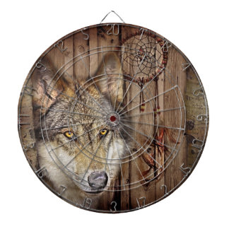 rustic native indian dream catcher wild wolf dartboard with darts