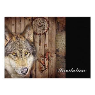 rustic native indian dream catcher wild wolf card