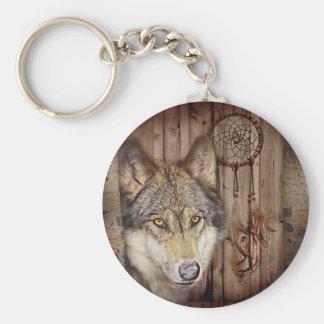 rustic native indian dream catcher wild wolf basic round button keychain