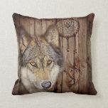 rustic native indian dream catcher wild wolf pillow