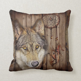 rustic native indian dream catcher wild wolf pillow