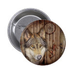 rustic native indian dream catcher wild wolf pinback button
