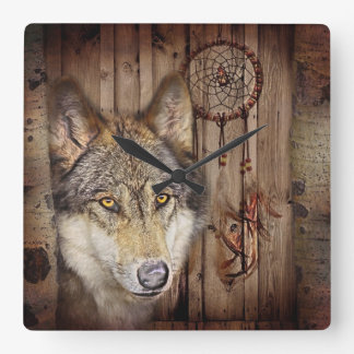 rustic native indian dream catcher wild wolf square wall clock