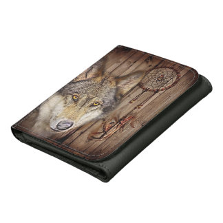 rustic native indian dream catcher wild wolf wallets