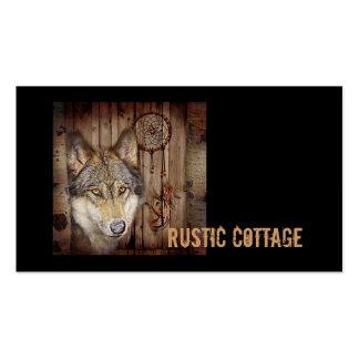 rustic native indian dream catcher wolf art business cards
